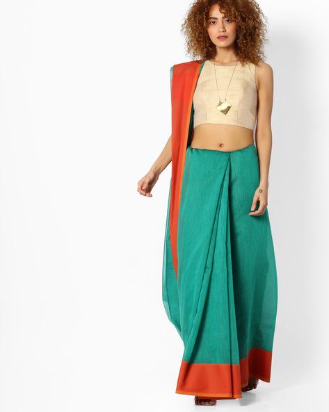 Handloom Saree With Contrast Border By SHRIKALA ( Green )
