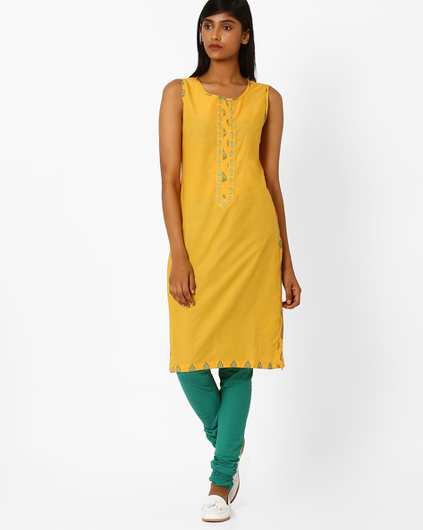 Sleeveless Straight Kurta With Embroidery By AJIO ( Yellow )