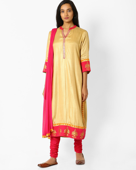 Churidar Kurta With Dupatta By Trishaa By Pantaloons ( Beige )