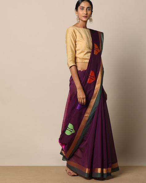 Mercerised Cotton Buti Saree With Woven Pallu By Indie Picks ( Coffeebrown )