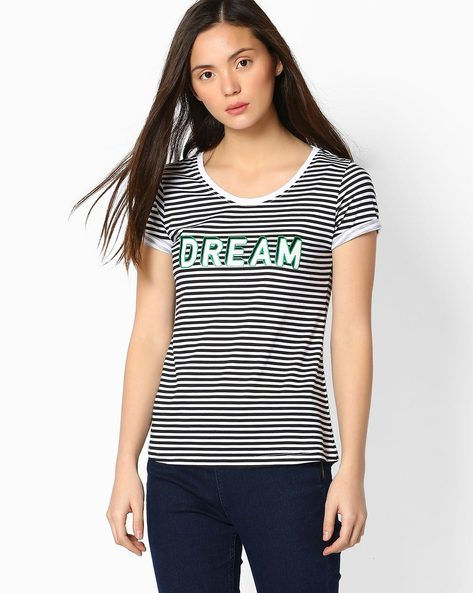 Striped T-shirt With Upturned Hems By TEAM SPIRIT ( Black )