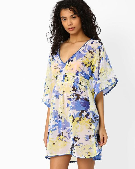 Floral Print Cover-Up With Bobble Trim By PrettySecrets ( Multi )