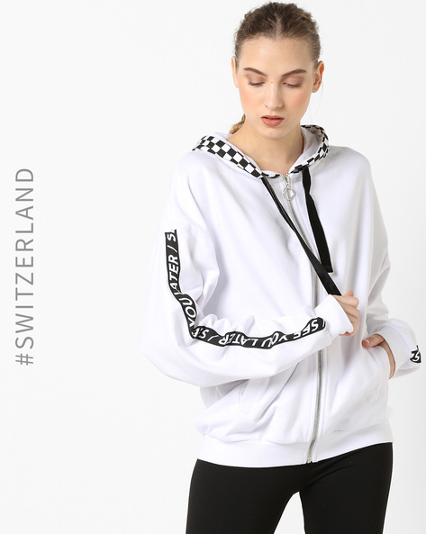 Printed Hoodie With Ribbed Hems By TALLY WEiJL ( White )