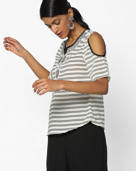 Striped Cold-shoulder Top With Embroidery By FUSION BEATS ( Cream )