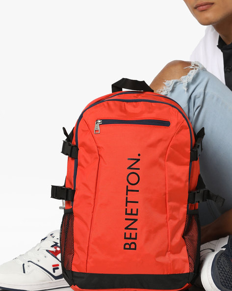 Textured Laptop Backpack With Mesh Pockets By UNITED COLORS OF BENETTON ( Orange )