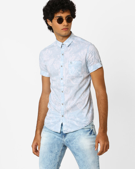 Slim Fit Printed Shirt By MUFTI ( Lightblue )
