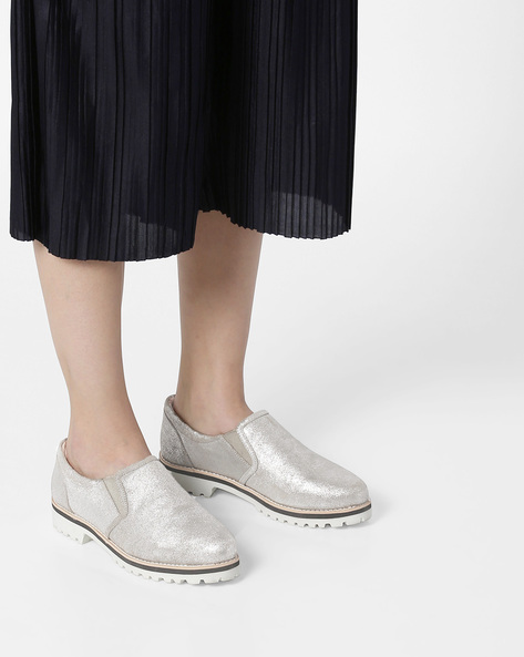Genuine Leather Slip-On Loafers By Carlton London ( Silver )