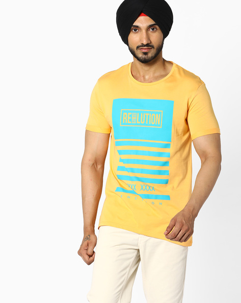 Graphic Print Cotton T-shirt By UNITED COLORS OF BENETTON ( Yellow )