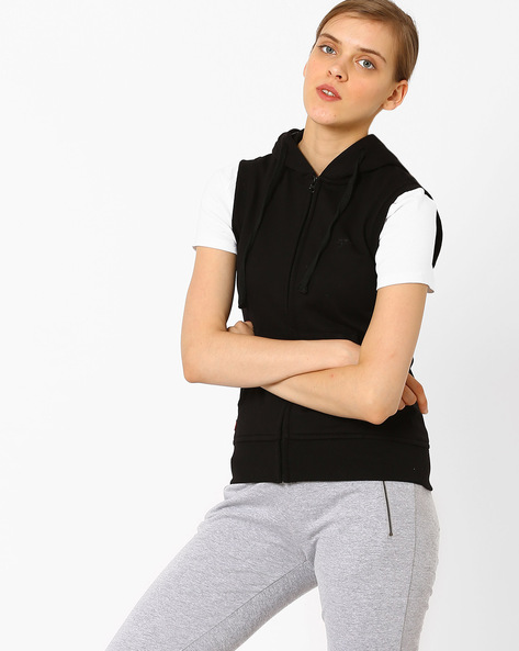 Sleeveless Hooded Sweatshirt By TAANZ WOMENS ( Assorted )