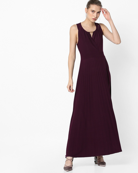 Pleated A-line Dress With Surplice Neck By Project Eve WW Evening ( Burgandy )