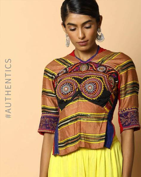 Kutch Embroidered Backless Blouse By Indie Picks ( Multi ) - 460103676001