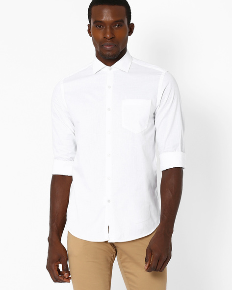 Slim Fit Shirt With Patch Pocket By Black Coffee ( White ) - 460038471003