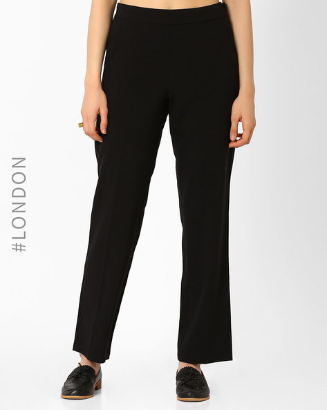 Mid-Rise Flat-Front Trousers By Marks & Spencer ( Black )