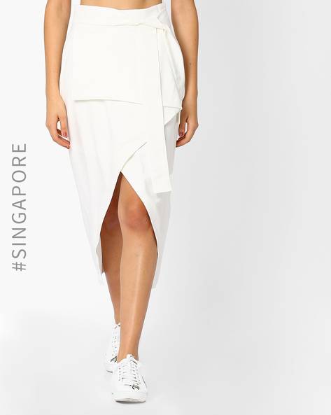 Wrap-Styled High-Low Skirt With Tie-Up By MDS ( White )
