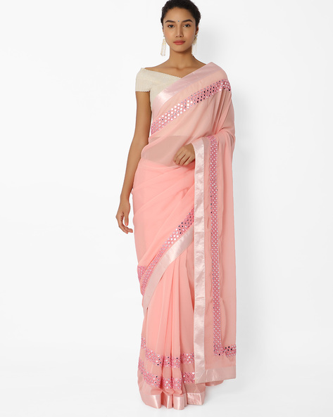 Saree With Mirror Work By Mahotsav ( Pink )