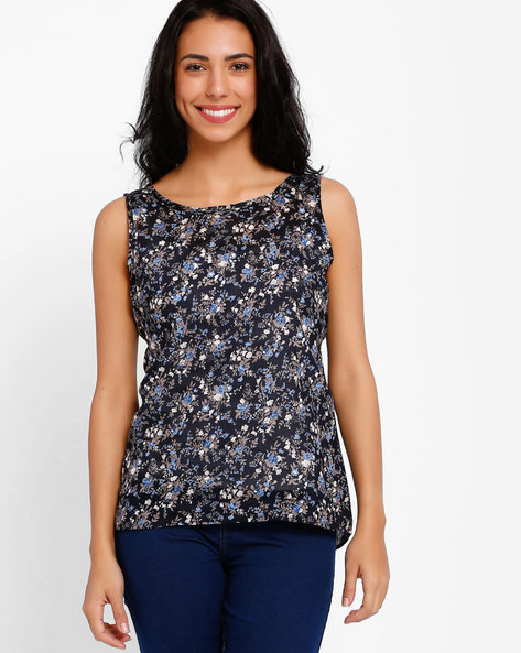 Top With Floral Print By Style Quotient By Noi ( Navyblue )