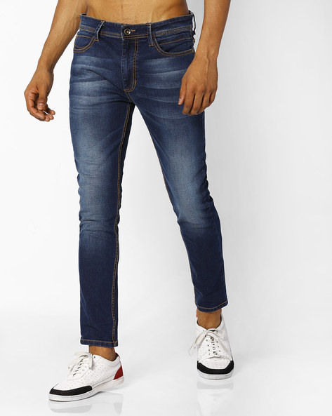 Skinny Fit Ankle-Length Jeans By ADAMO LONDON ( Blue )
