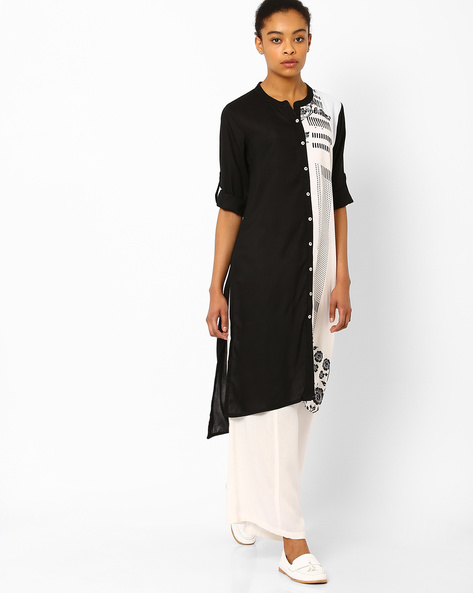 Printed Straight Kurta With High-Low Hem By AVAASA MIX N' MATCH ( Black )