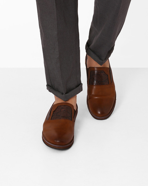 Slip-On Formal Shoes With Textured Detail By Spunk ( Coffeebrown )