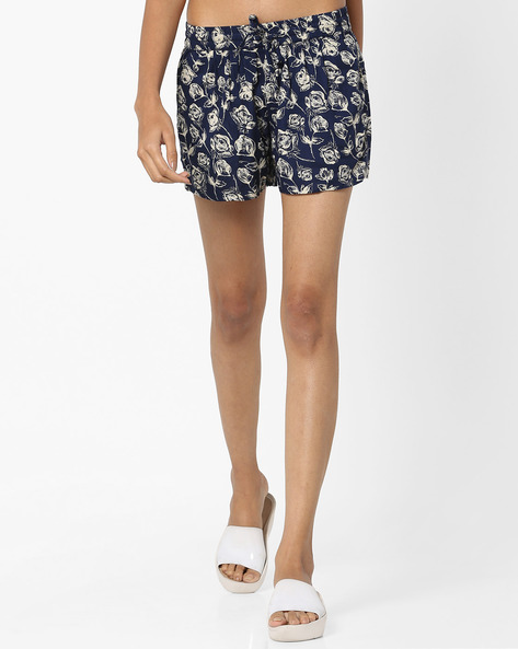 Printed Shorts With Drawstring Fastening By Ginger By Lifestyle ( Navy )