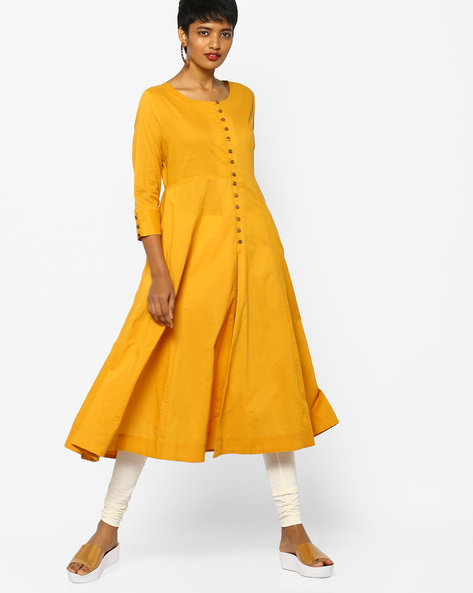A-line Kurta With Front-Slit Hem By Project Eve IW Casual ( Mustard )