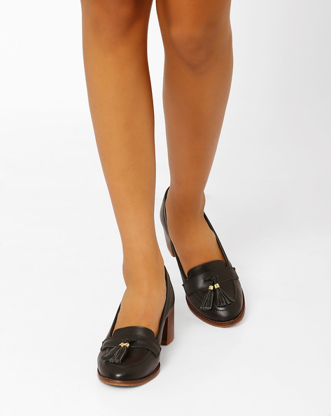 Leather Tasselled Pumps With Chunky Heels By Carlton London ( Black )