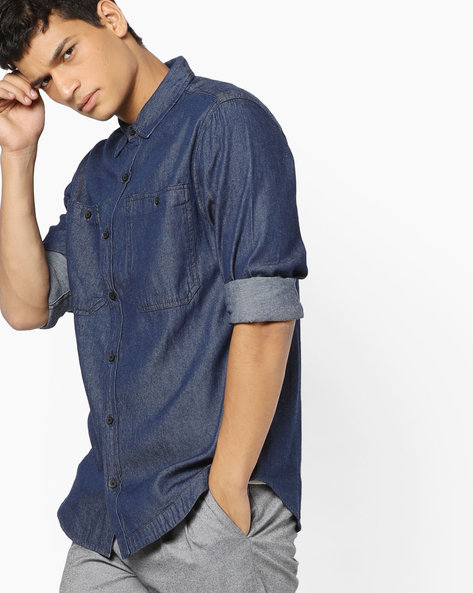 Classic Shirt With Patch Pockets By Blue Saint ( Dkblue )
