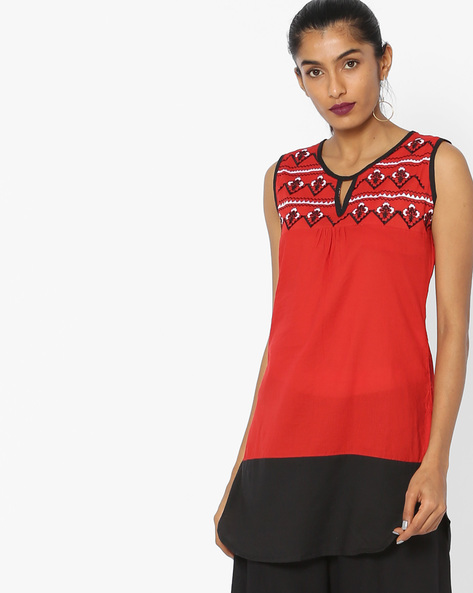 Colourblock Sleeveless Tunic With Embroidery By Indian Ink ( Red )
