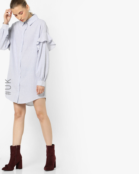 Striped Shirt Dress With Ruffled Sleeves By OEUVRE ( White )