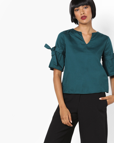 V-neck Top With Tie-Ups By Evah London ( Green )