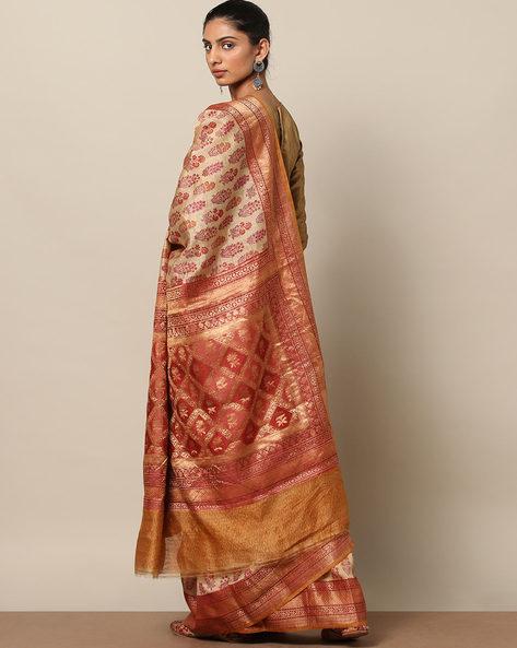 Pure Silk Tussar Banarasi Printed Saree By Rudrakaashe-MSU ( Beige ) - 460132073001