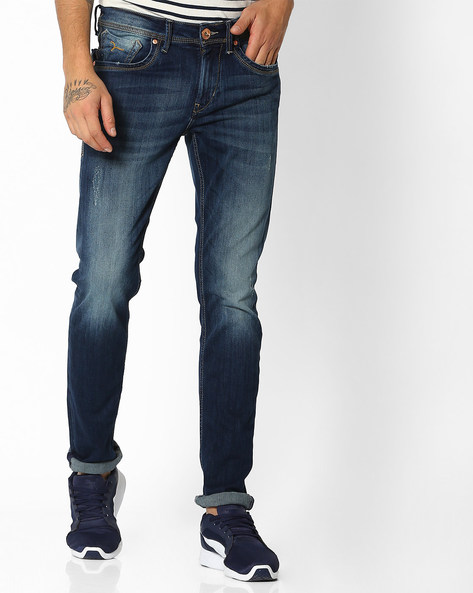 Washed Mid-Rise Skinny Jeans By FLYING MACHINE ( Blue )
