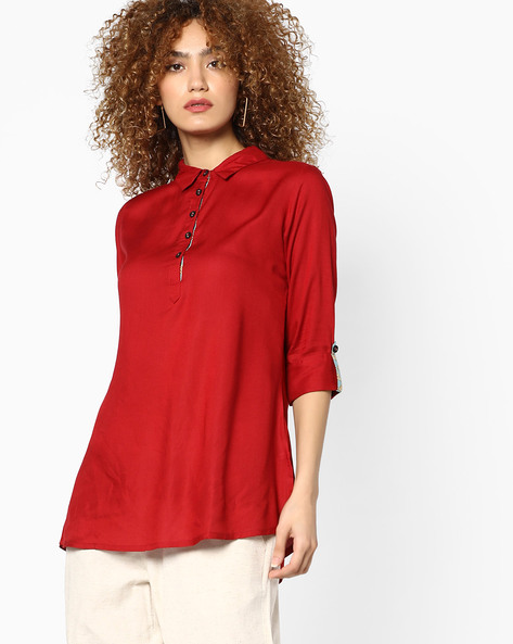 Tunic With High-Low Hem By AJIO ( Red )
