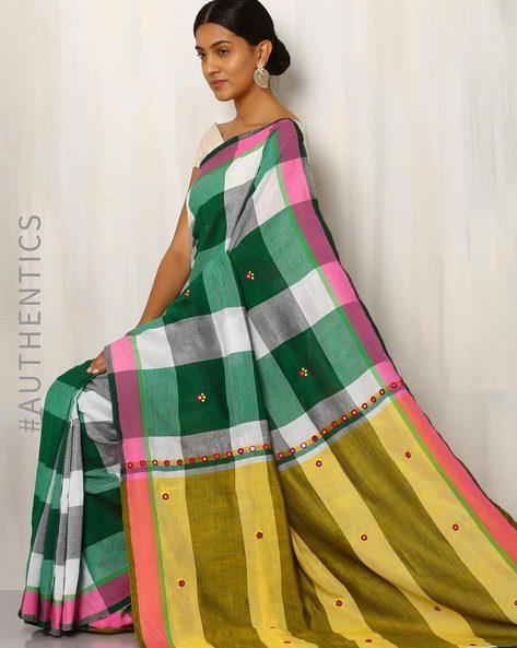 Handwoven Cotton Saree With Mirrorwork By Meenakari ( Green )