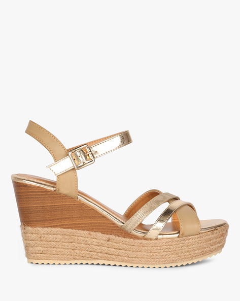 Ankle-Strap Wedges With Braided Midsole By AJIO ( Nude )