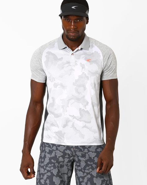 Camo Print Polo T-shirt With Quick Dry By PERFORMAX ( Greymelange )