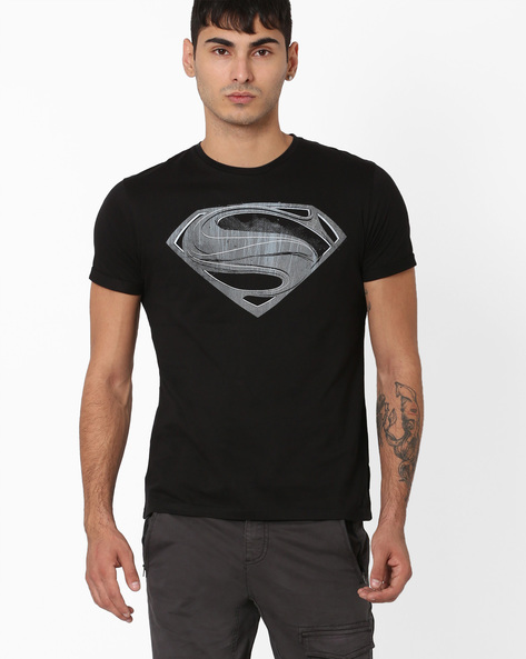 Superman Print Crew-Neck T-shirt By Free Authority ( Black )