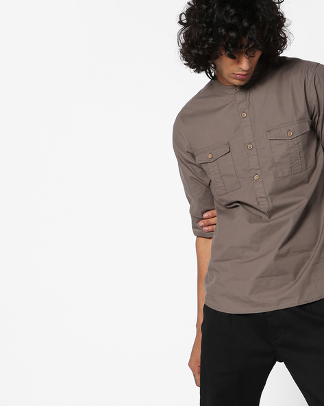 Slim Fit Shirt With Mandarin Collar By AJIO ( Olive )