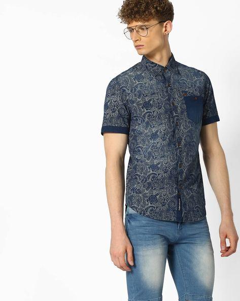 Paisley Print Cotton Shirt By DNMX ( Darkblue )