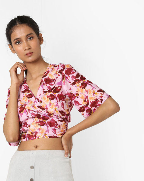 Crop Top With Tie-Up By AJIO ( Pink )
