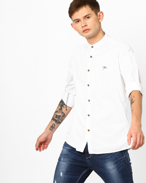 Slim Fit Shirt With Band Collar By Killer ( White )