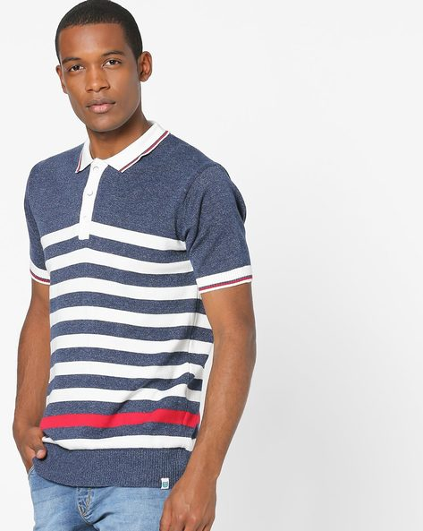 Striped Polo T-shirt By Teamspirit ( Navy )
