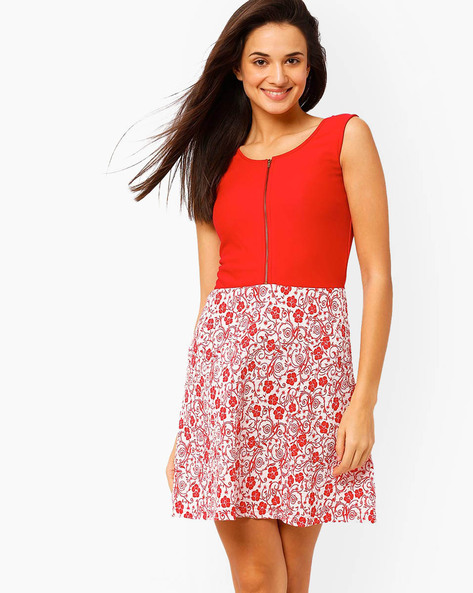 Floral Print Skater Dress By The Vanca ( Red )