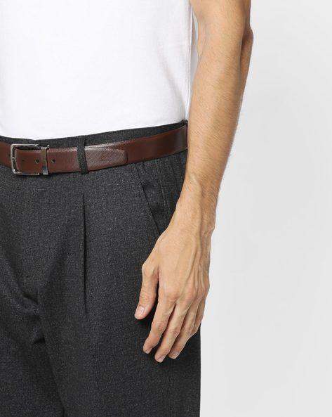 Genuine Leather Textured Belt By ALVARO CASTAGNINO ( Brown )