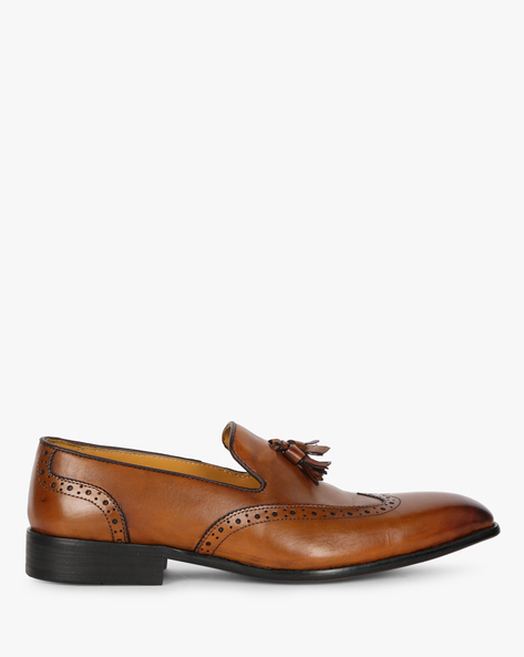 Formal Leather Slip-Ons With Tassels By Modello Domani ( Tan )