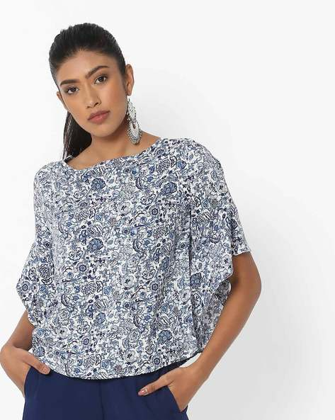 Floral Printed Top With Flared Sleeves By DNMX ( Offwhite )