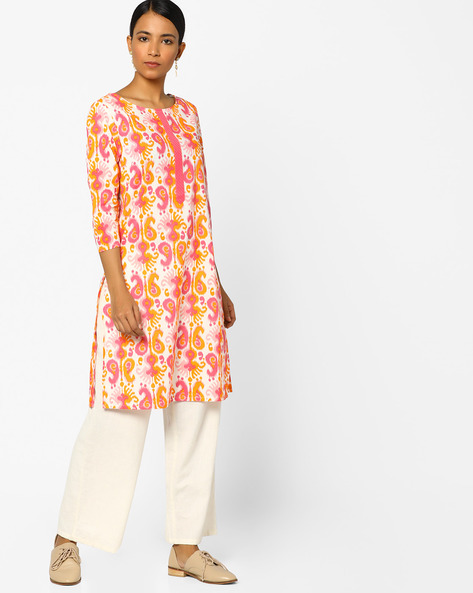 Printed Straight Cotton Kurta By AJIO ( Pink )