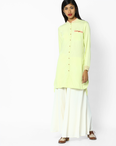 Collared Tunic With Embroidery By AJIO ( Mint )