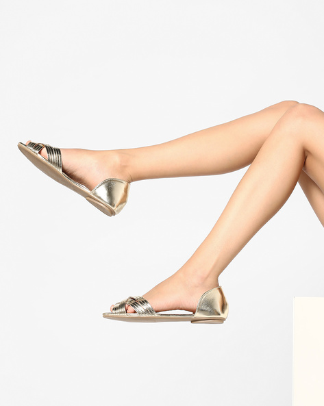 D'Orsay Shoes With Criss-Cross Upper By AJIO ( Gold )