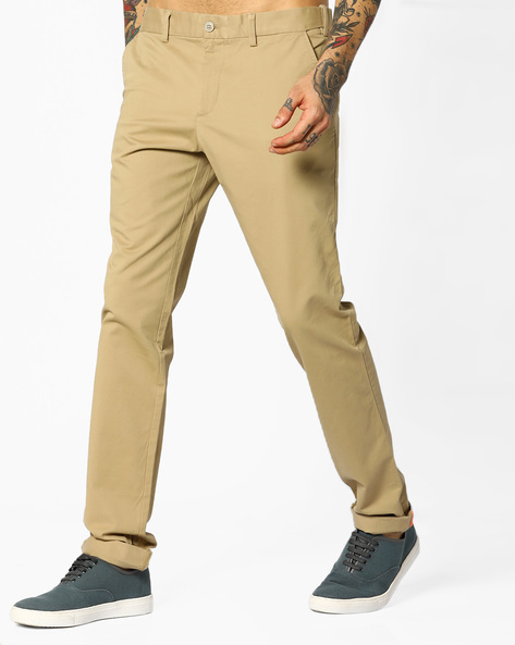 Slim Fit 5-pocket Trousers By INDIAN TERRAIN ( Khaki )